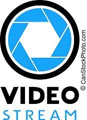 video, flusso, simbolo