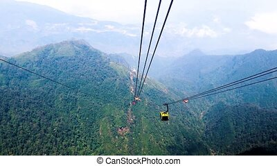 Video footage from the cable car to Fan Si Pan mountain, Sapa, Vietnam