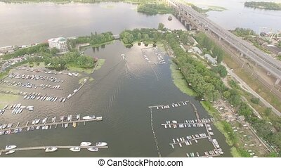 Video footage harbor with yachts and boats on the river.