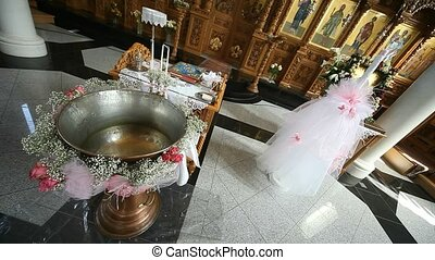 baptismal font - video footage of a baptismal font in a...