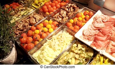 Antipasti - Video footage of Antipasti buffet