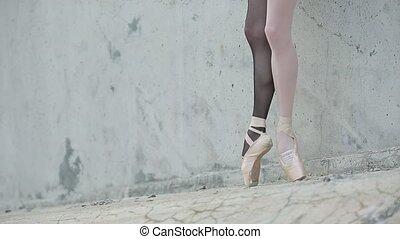 young graceful ballerina feet close-up
