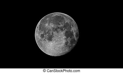 Real videography of the moon in the night sky