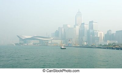 Hong Kong Convention and Exhibition Center in the Fog -...