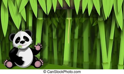 panda - video funny panda on stem of the bamboo