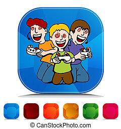 Video Game Addicted Kids Gemstone Button Set