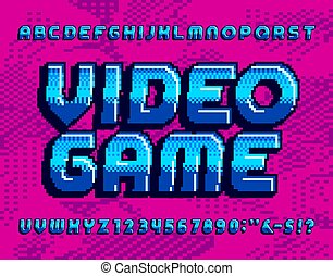 Video Game alphabet font. Retro pixel letters and numbers.