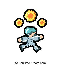 video game avatar with fire balls pixelated