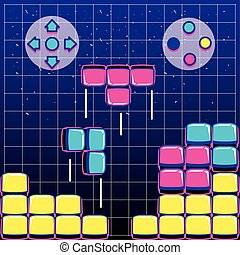 video game blocks with buttons controls
