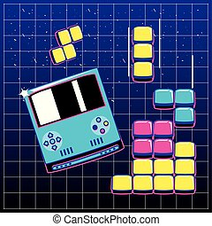 video game blocks with handle console