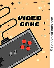 video game controller - gamepad gadget play poster vector illustration