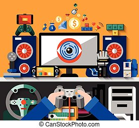 Video game concept with computer table and hands holding joystick vector illustration