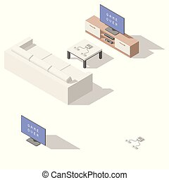 Video game console lowpoly isometric icon set vector graphic...