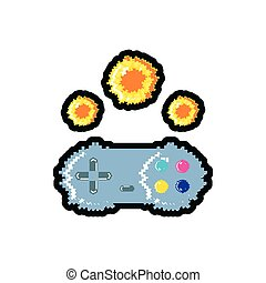 video game control with fire balls pixelated