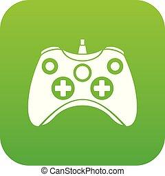 Video game controller icon digital green