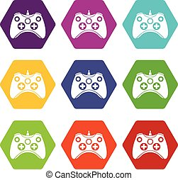 Video game controller icon set color hexahedron
