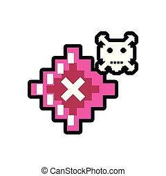 video game danger skull pixelated
