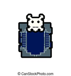 video game danger skull with stage scene pixelated