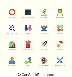 Video game genres vector icons set in flat design style #2