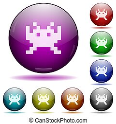 Video game icon in glass sphere buttons