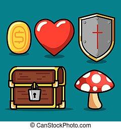Video game icon set design