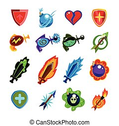Video Game Icons Set - RPG Video Game Toy Icons Set Vector...