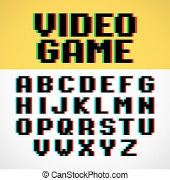 Video game pixel font with distortion
