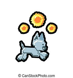 video game pixelated robotic dog with fire balls