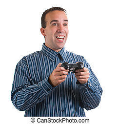 Video Game Player - An adult video game player is having...