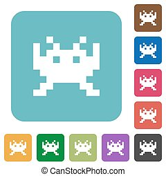 Video game rounded square flat icons