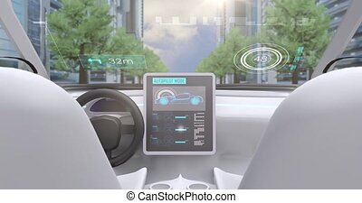 Animation of video game simulation screen showing car cockpit driving through city streets. Virtual reality video gaming concept digitally generated image.