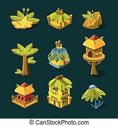 Video Game Tropical Forest Design Collection Of Elements