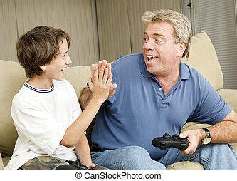 video, gamers, hoch fünf