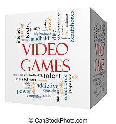 Video Games 3D cube Word Cloud Concept