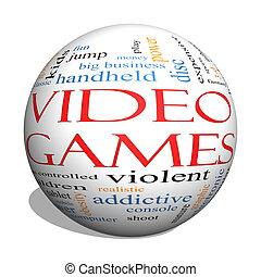 Video Games 3d sphere Word Cloud Concept