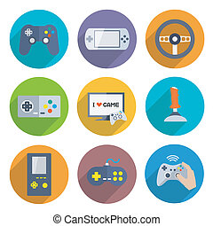 Video Games Controller Icons Set - Video computer console...