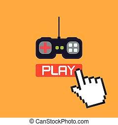 Video games design over orange background, vector ...