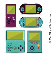 Video Games design over white background, vector ...