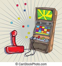 Video Games Icons Arcade Machine and joystick. on vintage ...