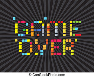 Video Games Icons - Game Over (video games screen). On black...