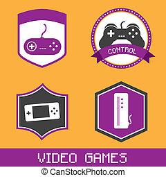 video games icons over orange backgound vector, illustration