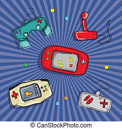 Video Games Icons ( Retro Consoles and controls), on blue ...