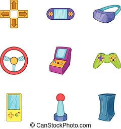 Video games icons set, cartoon style