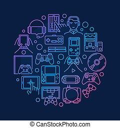 Video games round design - vector round game symbol made ...