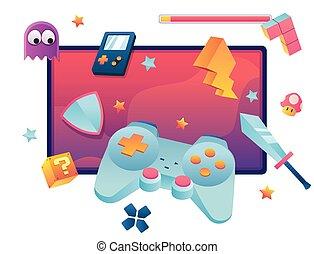 Video Games Symbol - Concept flat design illustration for ...