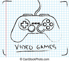 Video Games - Video games over squares background vector ...