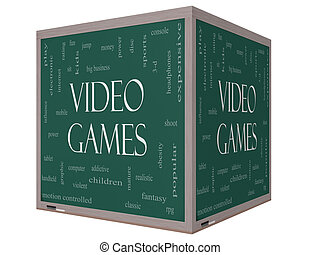 Video Games Word Cloud Concept on a 3D cube Blackboard