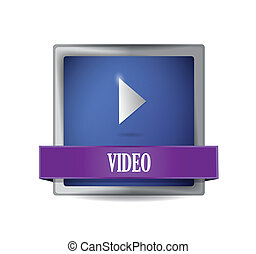 Video glossy blue button illustration
