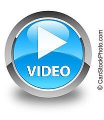 Video glossy cyan blue round button