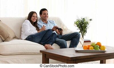 video gokt, zijn, vriendin, man, spelend